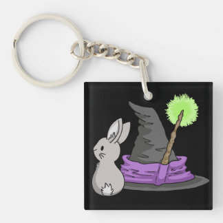Bunny with a witch's hat Double-Sided square acrylic key ring