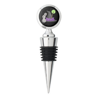 Bunny with a witch's hat wine stopper
