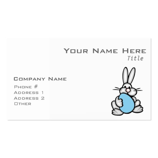 Bunny with Baby Blue Egg Business Card Templates