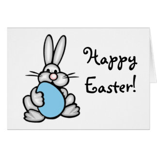Bunny with Baby Blue Egg Note Card
