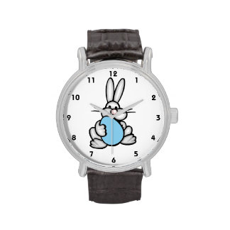 Bunny with Baby Blue Egg Wrist Watch