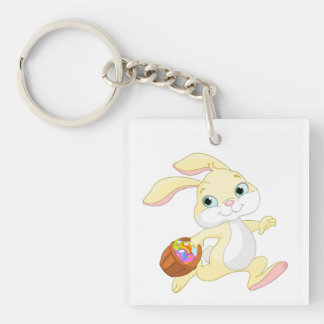 Bunny With Basket Double-Sided Square Acrylic Key Ring