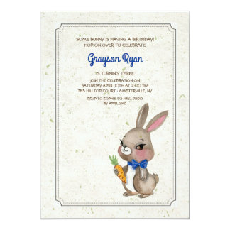 Bunny With Blue Bow Invitation