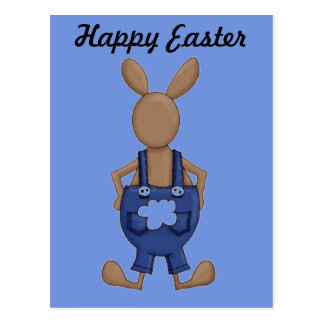Bunny with Blue Coveralls showing off Tail Postcard