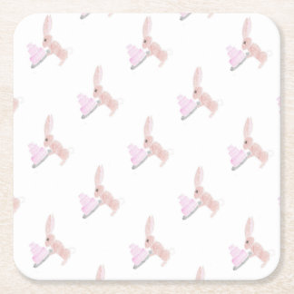 Bunny with Cake Square Paper Coaster