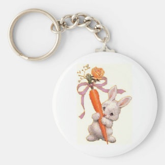 Bunny with Carrot and Rose Basic Round Button Key Ring