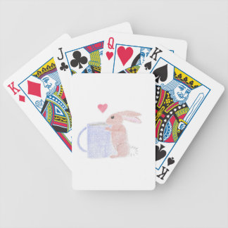 Bunny With Coffee Bicycle Playing Cards