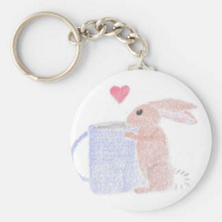 Bunny With Coffee Key Ring