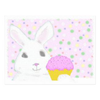 Bunny with Cupcake Postcard