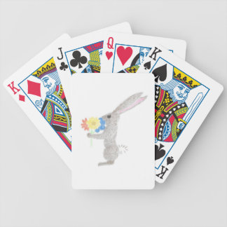 Bunny With Flowers Bicycle Playing Cards