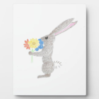 Bunny With Flowers Plaque