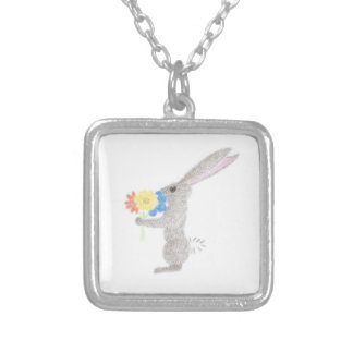 Bunny With Flowers Silver Plated Necklace