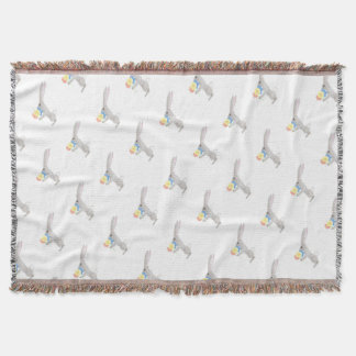 Bunny With Flowers Throw Blanket