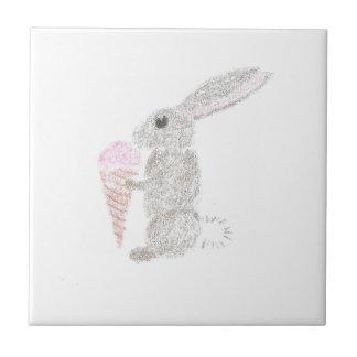 Bunny with Ice Cream Ceramic Tile