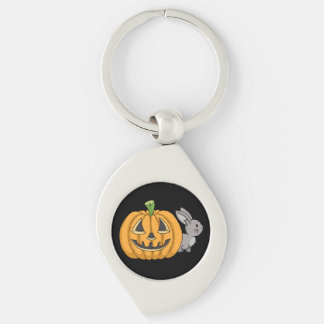 Bunny with Jack O Lantern Silver-Colored Swirl Key Ring