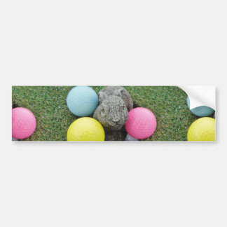 Bunny with pink blue yellow egg car bumper sticker
