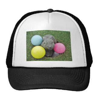 Bunny with pink blue yellow egg mesh hat