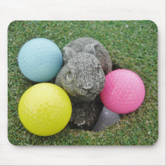 Bunny with pink blue yellow egg mousepad