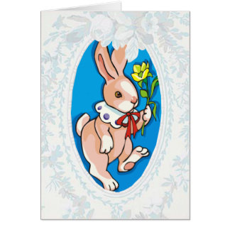 Bunny With Yellow Flower Easter Card Greeting Card