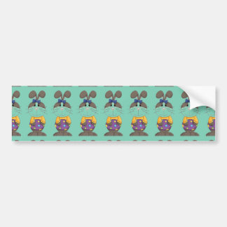 Bunny with Yellow Shirt and Blue Bow Bumper Sticker