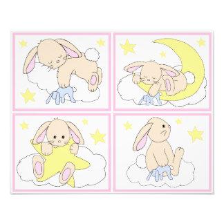 Bunny Woodland Moon Star Nursery Wall Art Prints
