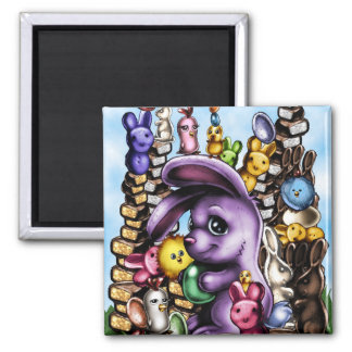 BunnyEaster1b Square Magnet