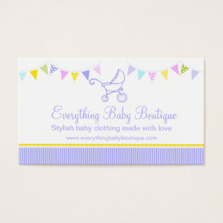 Bunting baby boutique purple business cards
