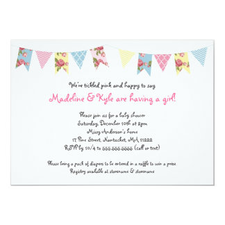 Bunting Baby Shower Invites / pink yellow blue