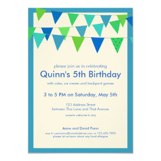 Bunting Banner Birthday Party Invite, blues greens Card