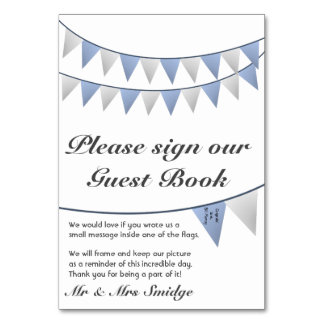 Bunting Blue Wedding Guest Book Sign Table Cards