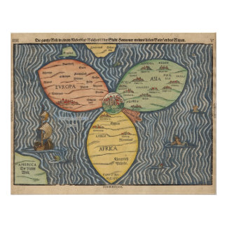 Bunting clover leaf map 1581 poster