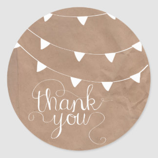 Bunting Flag Cursive Thank You Sticker