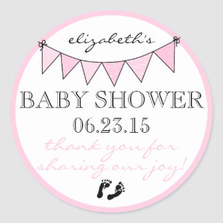 Bunting Flags Pretty Pink Baby Shower Thank You Round Sticker