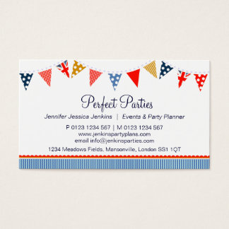 Bunting party event planning blue business cards