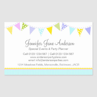 Bunting party events planning business label rectangular sticker
