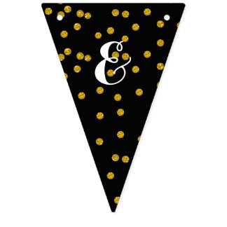 Bunting Personalized Wedding Gold and Black Dots Bunting