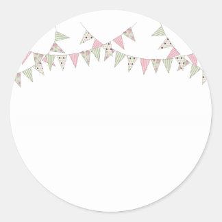 Bunting - Pink & Green Round Sticker