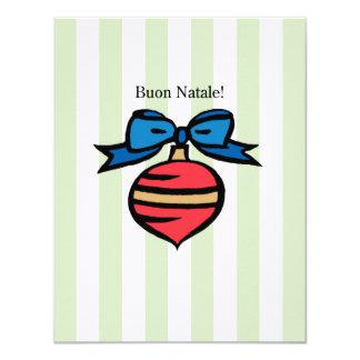 Buon Natale 4.25x5.5 Linen Ornament Invite Green