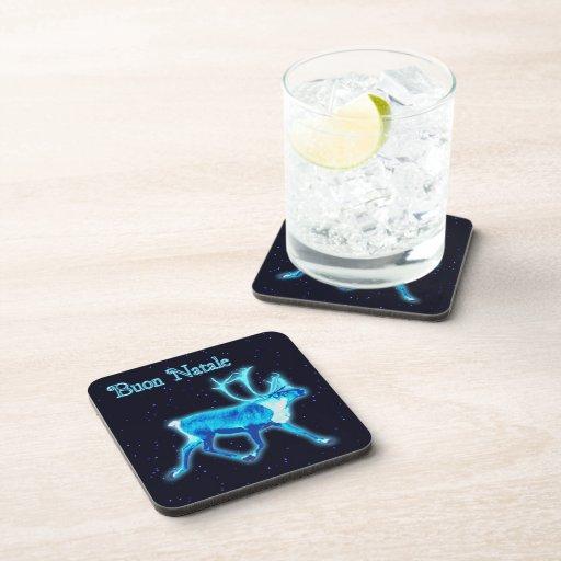Buon Natale - Blue Caribou (Reindeer) Beverage Coaster