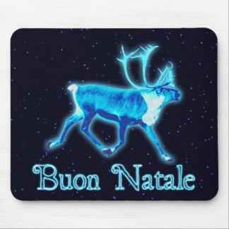Buon Natale - Blue Caribou (Reindeer) Mouse Pad