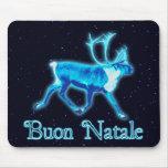 Buon Natale - Blue Caribou (Reindeer) Mousepads