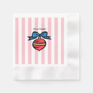 Buon Natale Coined Cocktail Napkin Pink Paper Serviettes