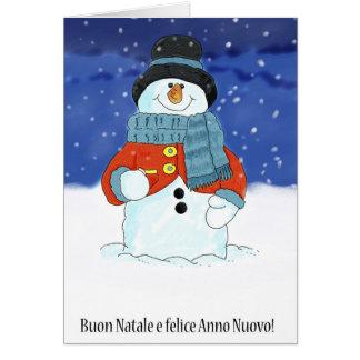 Buon Natale e felice anno nuovo - Italian Snowman Card