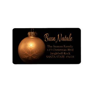 Buon Natale Golden ornament label Address Label