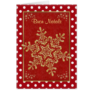 Buon Natale Italian Christmas - gold snowflakes Greeting Card