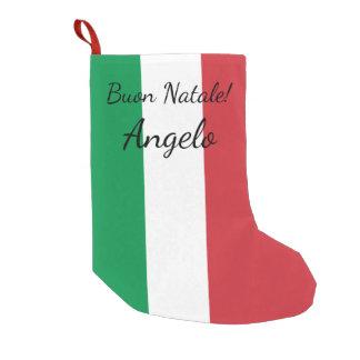 Buon Natale Italian flag personalized name Holiday Small Christmas Stocking