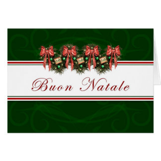 Buon Natale - Italian Garland Red Bows Card