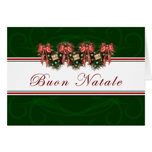 Buon Natale - Italian Garland Red Bows Card