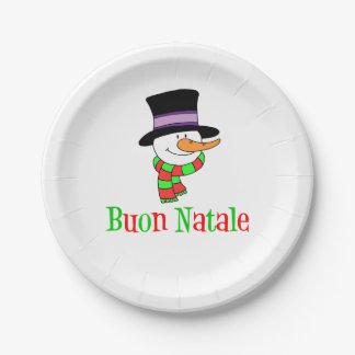Buon Natale Italian Merry Christmas Snowman Paper Plate