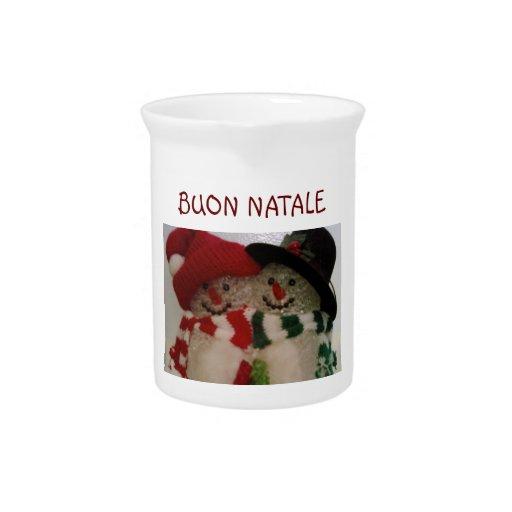BUON NATALE-ITALIAN SNOWMAN CHRISTMAS PITCHER